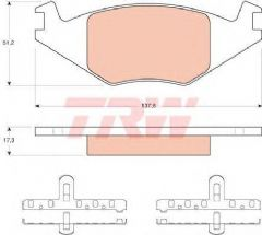 Brake pads front 239 x 10mm 1.0-1.3